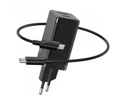 Baseus GaN2 Q.Charger C+U Black + кабель USB Type-C (CCGAN-Q01) Швидка зарядка PD 1*USB + 1*USB Type-C/5 A/20 V